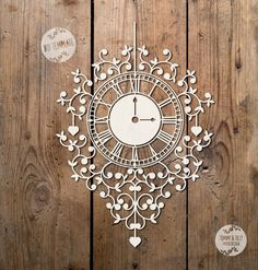 SVG / PDF Clock Design - Papercutting Template to print and cut yourself (Commercial Use)
