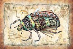 Elizaveta Melkozerova's Steampunk style of Drawings Beetle Drawing, Man Vs Nature, Steampunk Kunst, Steampunk Illustration, Steampunk Animals, Insect Tattoo, Steampunk Crafts, Steampunk Wedding, Medium Art