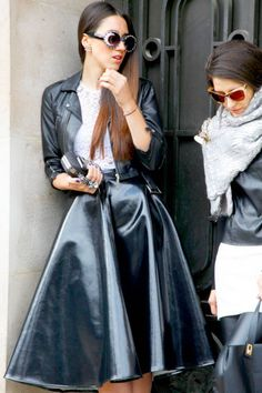 Lots of leather, including motorcycle jackets and full skirts, at Paris Fashion Week #streetstyle