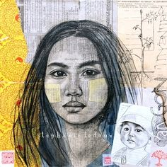 portrait on mixed paper Mix Media, Mixed Media Art, Sketch Inspiration, Portrait Inspiration, Collages, Wish Kids, Ledoux, Atelier D Art, High School Art