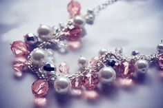 Chunky pink crystal and pearl necklace.