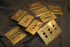 Antique push button light switch covers. Perkins Electric SW MFG. CO. PAT. March 27, 1894. See Stone Bridge Antiques in the Concord Antique Gallery.