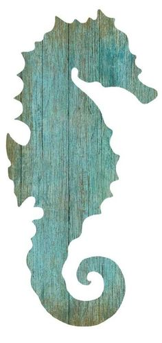 Artist Suzanne Nicoll's wonderful image of the silhouette of an aqua colored seahorse facing to the left printed directly onto a distressed wood panel creating a unique and rustic approach to her art.