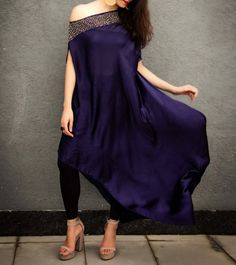 Blue Satin & Georette Pearl, Sequence And Tube Work Off Shoulder Dress Indian Designer Outfits, Indian Outfits, Designer Dresses, Western Outfits, Indian Dresses, Simple Dresses, Nice Dresses, Look Short, Indian Couture