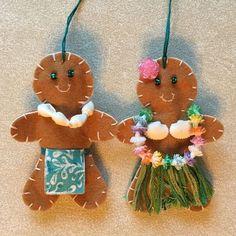Felt Christmas Ornaments, Christmas Themes, Christmas Tree Decorations, Holiday Crafts, Christmas Holidays, Ornaments Ideas, Coastal Christmas, Hawaiian Christmas Tree, Tropical Christmas Ornaments