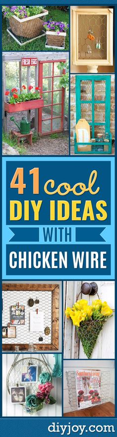 Best DIY Ideas With Chicken Wire -  Rustic Farmhouse Decor Tutorials With Chickenwire and Easy Vintage Shabby Chic Home Decor for Kitchen, Living Room and Bathroom - Creative Country Crafts, Furniture, Patio Decor and Rustic Wall Art and Accessories to Make and Sell http://diyjoy.com/diy-projects-chicken-wire