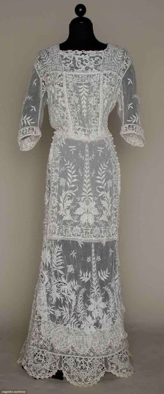 Embroidered Lace Tea Gown, C. 1912