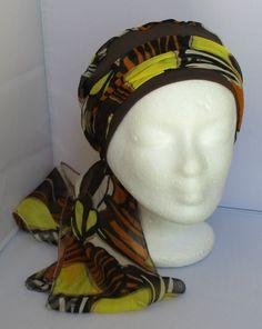 Turban à longs pans préformé - Foulard - Bonnet - chapeau - bandeau chimio  marron jaune 6c66326fe2c