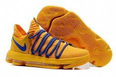 130ba9a505d7 Nike KD 10 Warrior Yellow Blue Basketball Shoes Free Shipping   adidasbasketballshoes  basketballshortsgirls Basketball