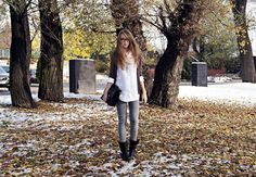 Get this look (shirt, sweater, jeans, boots) http://kalei.do/WQHsKyCeePN6WJXa