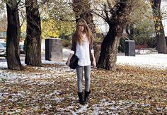 Get this look (shirt, sweater, jeans, boots) http://kalei.do/WQHsKyCeePN6WJXa