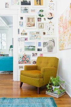 houseplants of yellow Chair blue carpet wall decorate