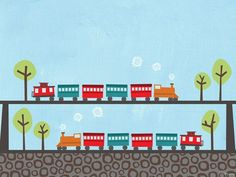 """""""Two Trains"""" - Canvas Wall Art from Oopsy daisy, Fine Art for Kids"""