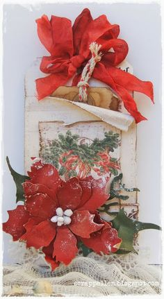 """Christmasgift-tag using """"leftovers-scrap""""-Pion Design meet Tim H:)"""