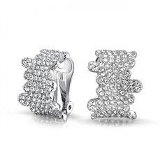 Bling Jewelry Silver Tone Crystal Art Deco Style Half Hoop Clip On Earrings