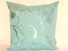 Painted nature pillow sham  20x20 pillow cover  Floral by SABDECO