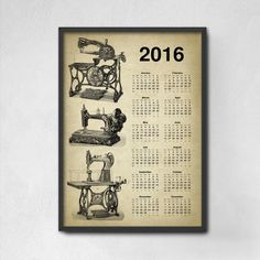 Vintage Sewing Machine Calendar 2016  Sewing por QuantumPrints Vintage Calendar, Art Calendar, Calendar 2020, Shark Art, Bathroom Wall Art, Machine Design, Dressmaking, Vintage Sewing, Art Lessons