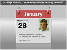 """#Hormones #HRT Be sure to mark your calendars for Wednesday, January 28th. REFER A FRIEND REWARD - Dr. George Ibrahim Presents """"The Positive Benefits of Balancing Hormones"""". Bring a friend with you on January 28th and if your friend becomes a patient, both of you will receive $50 off your next visit. Bring 5 friends who become patients at Asheville Healthspan MD and receive $250 off of your next visit! So do your friends and yourself a favor and spread the joy! Balancing Hormones, Bioidentical Hormones, Hormone Replacement Therapy, Asheville, Stuff To Do, Wednesday, How To Become, January"""