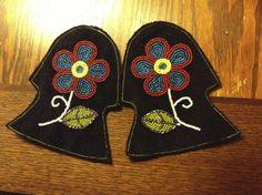 Ojibwe Men's Split toe Moccasins Tongues made by Greg Johnson, Lac du Flambeau Ojibwe (Private Collection)