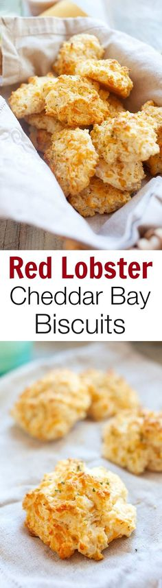 """Red Lobster cheddar bay biscuits copycat – close to the original Red Lobsters biscuits. Crumbly, cheesy, and the best biscuit recipe ever! Think Food, I Love Food, Best Ever Biscuit Recipe, Great Recipes, Favorite Recipes, Recipes Dinner, Delicious Recipes, Recipe Ideas, Easy Recipes"