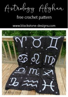 The Astrology Afghan is a free crochet pattern from Blackstone Designs -- Made up of 12 squares, each featuring a different zodiac glyph. #crochet #freecrochetpattern #astrology #astrologyafghan #crochetastrology #crochetzodiac #crochetblanket #afghansquares#crochetafghan #afghan