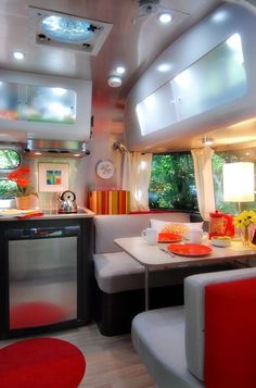 Now this is camping! Inside an 16 ft Airstream Bambi