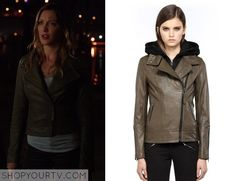 Laurel Lance (Katie Cassidy) wears this olive green leather biker jacket in this weeks episode of Arrow. It is the Mackage Kiera-F4 Khaki Leather Biker Jacket. Buy it HERE.