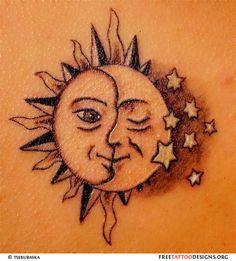 ☼ Sun & Moon ☾ and stars tattoo