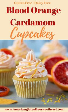Blood Orange Cardamom Cupcakes with Blood Orange Frosting. The Best homemade gluten free and dairy free blood orange cupcakes. A easy moist cupcake recipe. Moist Cupcake Recipes, Cupcake Recipes From Scratch, Dessert Recipes, Orange Frosting, Orange Cupcakes, No Dairy Recipes, Foods With Gluten, Bread Recipes, Vegan Recipes