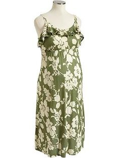 Maternity Ruffle-Yoke Floral Dress