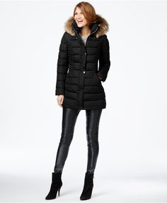 INC International Concepts Faux-Fur-Trim Quilted Puffer Coat, Only at Macy's - Coats - Women - Macy's