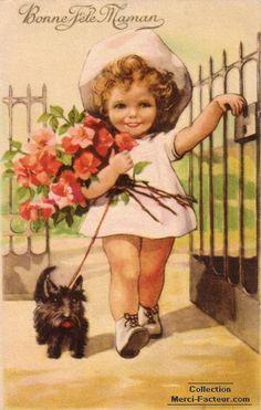 Pour la fete des meres un bouquet et un petit chien