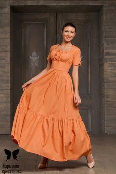 """Длинное платье для кормящих """"Оранжевое настроение"""" - магазин православного платья """"Барышня-крестьянка"""""""