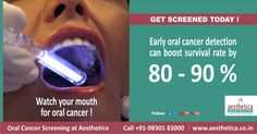 Watch Your Mouth for Oral Cancer ! Get Screened Today .  To book an appointment, Call +919830183000 Or log on to www.aesthetica.co.in  ‪#‎OralCancer‬,