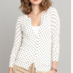 Banana Republic Gray Polka Dot Cardigan Love cardis. Love Banana Republic. Love polka dots. But haven't reached for this lately.  Banana Republic Sweaters Cardigans