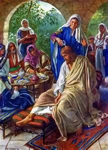 (On the Sabbath before Passover); John 12:1-3 'Jesus came to Bethany where Lazarus was. . So they made Him a supper there and Martha was serving'   Matt.26:7 'then Mary came unto him having an alabaster box of very precious ointment, and poured it on his head. .'