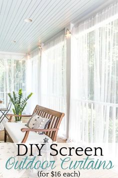 How to protect your porch from bugs using this quick and cheap solution for DIY outdoor curtains. #outdoorcurtains #screenedporch #diycurtains