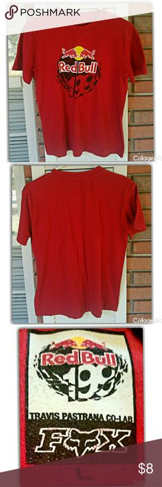 Red Bull tshirt by Fox 100%cotton. Machine wash warm, tumble dry low.#redbull#szL Red Fox Shirts & Tops Tees - Short Sleeve
