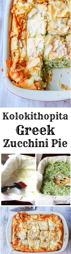 Kolokithopita or Greek Zucchini Pie is a perfect comfort food for the end of the Summer. The dish is a simple combination of zucchini onions herbs eggs & feta wrapped in a flaky phyllo dough which makes for an awesome light vegetarian meal. Greek Recipes, Veggie Recipes, New Recipes, Cooking Recipes, Healthy Recipes, Healthy Food, Vegetable Snacks, Pan Cooking, Gourmet