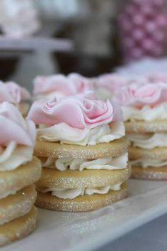 Gorgeous rose topped stacked cookies at an Engagement Party!  See more party ideas at CatchMyParty.com!  #partyideas #wedding