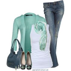 casual outfits: jeans, white tee, aqua sweater & scarf, blue-gray handbag, aqua & gray/blue shoes. Great color combo!