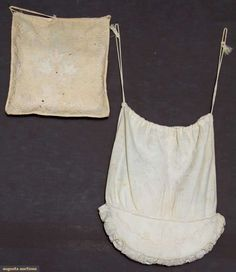 Two white work reticules, 1800-1825. Augusta Auctions (De-accessioned from the Brooklyn Museum costume collections.)