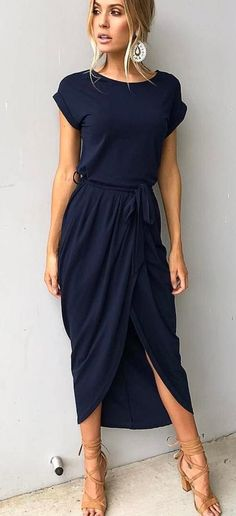 #spring #outfits Navy Wrap NADIA Dress + Nude Sandals