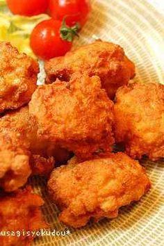 【つくった】鶏胸で♬お豆腐チキンナゲット|鶏胸肉(皮なし)・木綿豆腐・たまご・片栗粉 生姜・にんにく・鶏ガラスープの素・黒胡椒