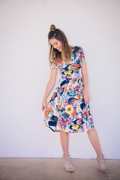floral dress and cage heels