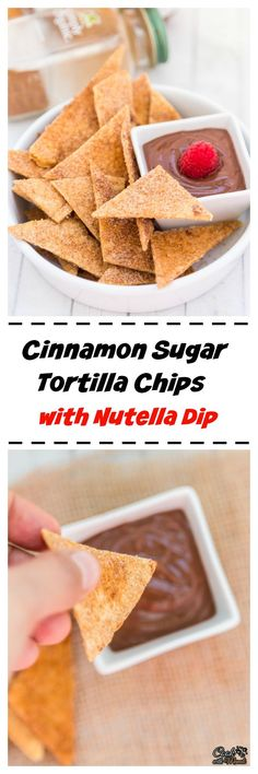 Crispy Cinnamon Sugar Tortilla Chips with an easy Nutella Dip are the perfect appetizer for game day or any party!