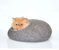 Grey cat house felt bed cats cave gray natural by Storow on Etsy