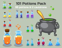 Potions Pack contains:  1. EPS vector files with 99 potions (9 forms of 11 colors) + EPS vector file with 2 cauldrons (side and top view). Fully editable and resizable. SVG vector files are also included. 2. Preview images of the pack (format: PNG) 3. Readme.txt file