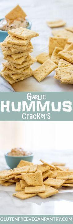 Gluten- free, Vegan Garlic Hummus Crackers. 8 ingredients, 1 bowl and 25 minutes. | glutenfreeveganpantry.com