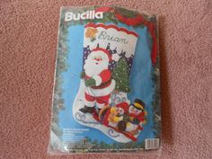 Christmas Stocking DIY kit NOS  Santa and by violetrosesvintage, $15.00